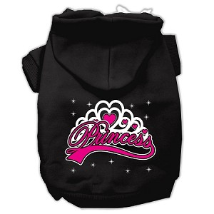 I'm a Princess Screen Print Pet Hoodies Black Size XS (8)