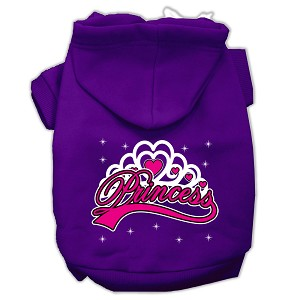 I'm a Princess Screen Print Pet Hoodies Purple Size Lg (14)