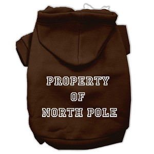 Property of North Pole Screen Print Pet Hoodies Brown Size L (14)
