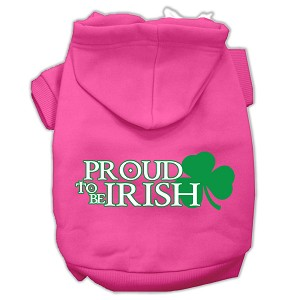 Proud to be Irish Screen Print Pet Hoodies Bright Pink Size XXL (18)
