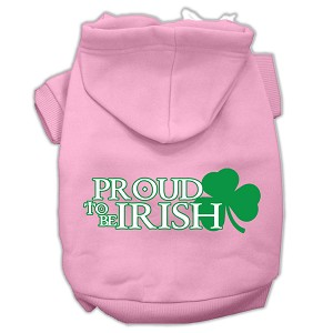 Proud to be Irish Screen Print Pet Hoodies Light Pink Size Med (12)