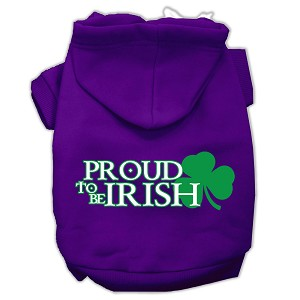 Proud to be Irish Screen Print Pet Hoodies Purple Size Sm (10)