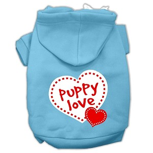 Puppy Love Screen Print Pet Hoodies Baby Blue Size Lg (14)