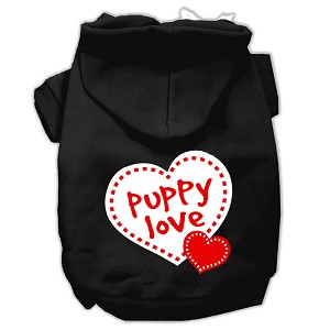 Puppy Love Screen Print Pet Hoodies Black Size XS (8)