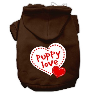 Puppy Love Screen Print Pet Hoodies Brown Size Lg (14)