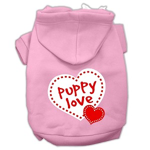 Puppy Love Screen Print Pet Hoodies Light Pink Size XL (16)