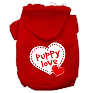 Puppy Love Screen Print Pet Hoodies Red Size Lg (14)