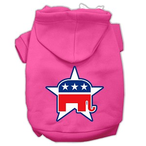 Republican Screen Print Pet Hoodies Bright Pink Size Med (12)