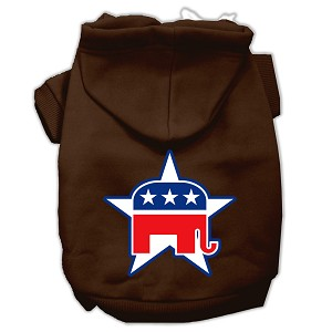 Republican Screen Print Pet Hoodies Brown Size XL (16)
