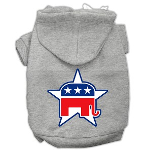 Republican Screen Print Pet Hoodies Grey Size Med (12)