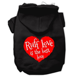Ruff Love Screen Print Pet Hoodies Black Size Lg (14)