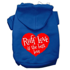 Ruff Love Screen Print Pet Hoodies Blue Size XS (8)