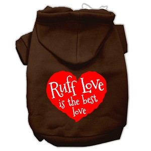 Ruff Love Screen Print Pet Hoodies Brown Size Sm (10)