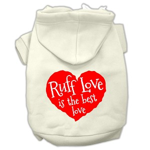 Ruff Love Screen Print Pet Hoodies Cream Size Lg (14)