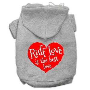 Ruff Love Screen Print Pet Hoodies Grey Size XL (16)