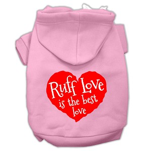 Ruff Love Screen Print Pet Hoodies Light Pink Size Sm (10)