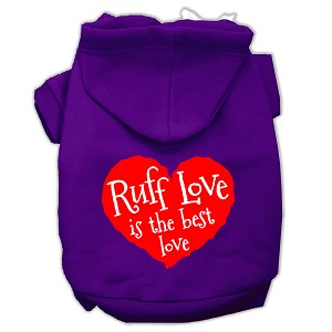 Ruff Love Screen Print Pet Hoodies Purple Size Lg (14)