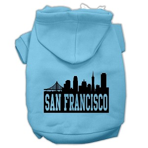 San Francisco Skyline Screen Print Pet Hoodies Baby Blue Size Med (12)