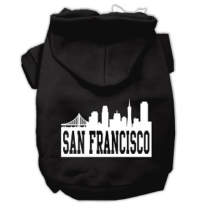 San Francisco Skyline Screen Print Pet Hoodies Black Size XL (16)