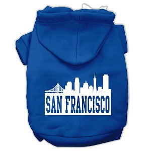 San Francisco Skyline Screen Print Pet Hoodies Blue Size Sm (10)