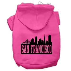 San Francisco Skyline Screen Print Pet Hoodies Bright Pink Size XS (8)