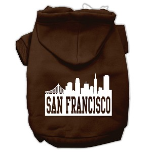 San Francisco Skyline Screen Print Pet Hoodies Brown Size XXXL (20)