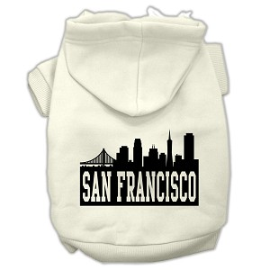 San Francisco Skyline Screen Print Pet Hoodies Cream Size Med (12)