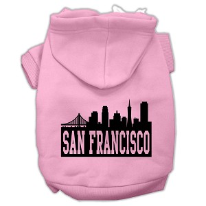 San Francisco Skyline Screen Print Pet Hoodies Light Pink Size XXXL (20)