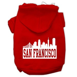 San Francisco Skyline Screen Print Pet Hoodies Red Size Med (12)