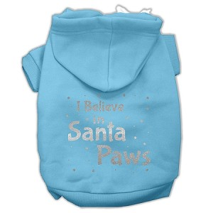 Screenprint Santa Paws Pet Hoodies Baby Blue Size XL (16)