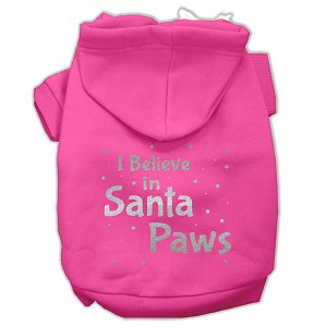 Screenprint Santa Paws Pet Hoodies Bright Pink Size XXXL (20)