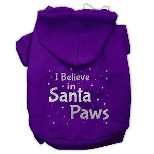Screenprint Santa Paws Pet Hoodies Purple Size XL (16)