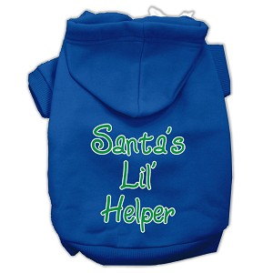 Santa's Lil' Helper Screen Print Pet Hoodies Blue Size XL (16)