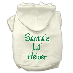 Santa's Lil' Helper Screen Print Pet Hoodies Cream Size XL (16)