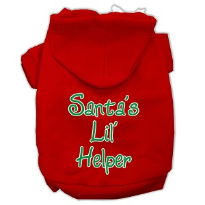 Santa's Lil' Helper Screen Print Pet Hoodies Red Size XXXL (20)