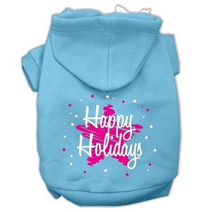 Scribble Happy Holidays Screenprint Pet Hoodies Baby Blue Size M (12)