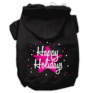 Scribble Happy Holidays Screenprint Pet Hoodies Black Size XXL (18)