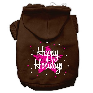 Scribble Happy Holidays Screenprint Pet Hoodies Brown Size S (10)