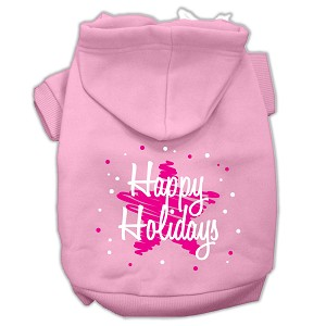 Scribble Happy Holidays Screenprint Pet Hoodies Light Pink Size M (12)