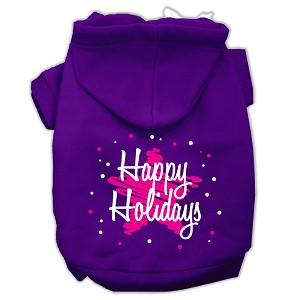 Scribble Happy Holidays Screenprint Pet Hoodies Purple Size XXXL (20)