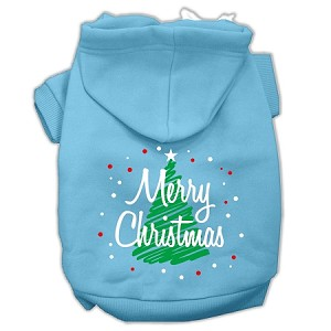 Scribbled Merry Christmas Screenprint Pet Hoodies Baby Blue Size S (10)