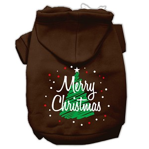Scribbled Merry Christmas Screenprint Pet Hoodies Brown Size XS (8)