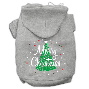 Scribbled Merry Christmas Screenprint Pet Hoodies Grey Size L (14)