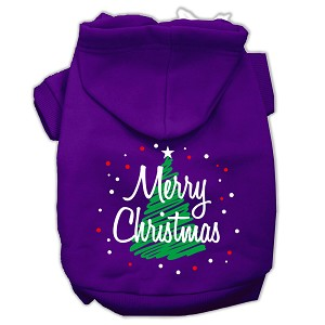 Scribbled Merry Christmas Screenprint Pet Hoodies Purple Size S (10)