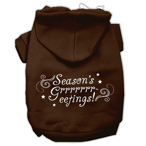 Seasons Greetings Screen Print Pet Hoodies Brown Size M (12)