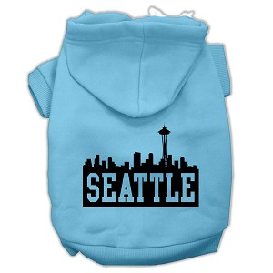 Seattle Skyline Screen Print Pet Hoodies Baby Blue Size XS (8)
