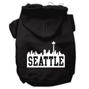Seattle Skyline Screen Print Pet Hoodies Black Size Lg (14)