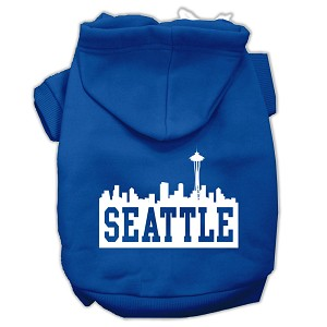 Seattle Skyline Screen Print Pet Hoodies Blue Size XS (8)