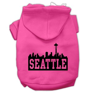Seattle Skyline Screen Print Pet Hoodies Bright Pink Size Sm (10)
