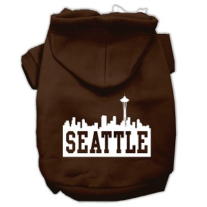 Seattle Skyline Screen Print Pet Hoodies Brown Size Med (12)